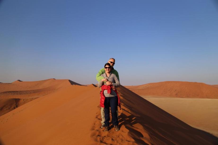 On safari in Namibia with my husband